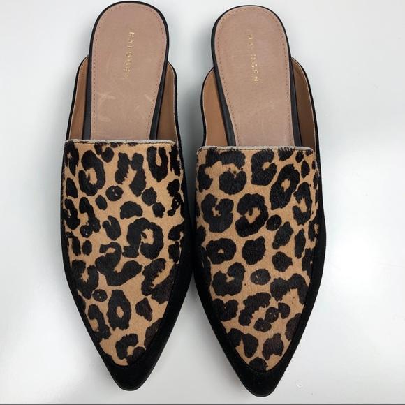 New Halogen Leopard Mules Nwot Size 9